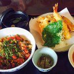 黒田節「おすすめNO1マグロ丼&豚天定食&トッピング大蝦・しいたけ・かぼちゃの天ぷら」